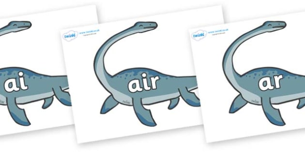 Phase 3 Phonemes on Plesiosaur - Phonemes, phoneme, Phase 3, Phase three, Foundation, Literacy, Letters and Sounds, DfES, display