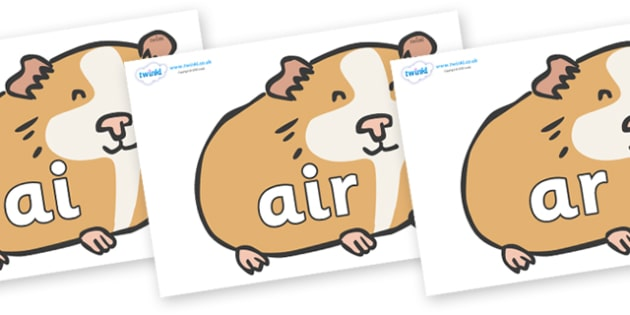 Phase 3 Phonemes on Guinea Pigs - Phonemes, phoneme, Phase 3, Phase three, Foundation, Literacy, Letters and Sounds, DfES, display