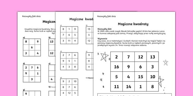 Karta Magiczne kwadraty po polsku, worksheet
