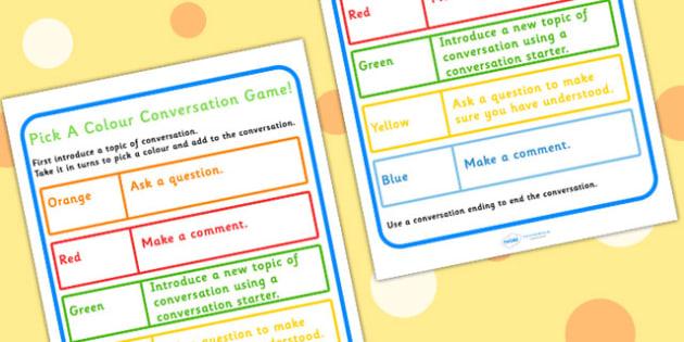 Conversation Practise Pick A Colour Game - colours, SEN, friends