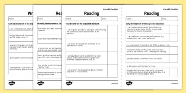 Interim Pre Key Stage 2 Standards for English I Can Checklists - interim, pre, keystage 2, standards, english, i can, checklist