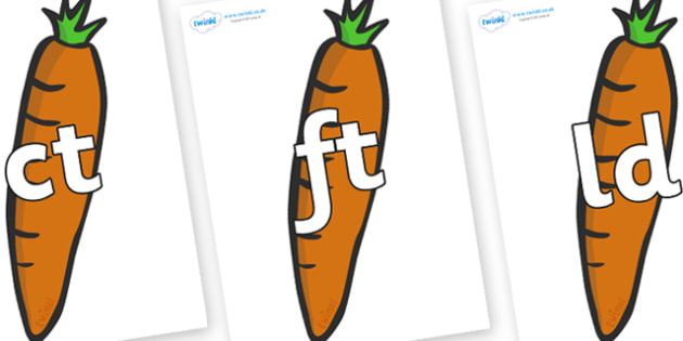 Final Letter Blends on Carrots - Final Letters, final letter, letter blend, letter blends, consonant, consonants, digraph, trigraph, literacy, alphabet, letters, foundation stage literacy