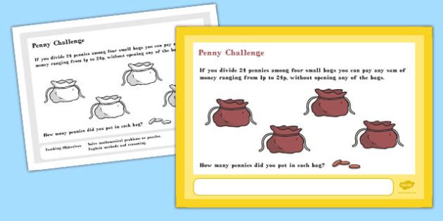 Penny Maths Challenge A4 Display Posters - challenge, posters