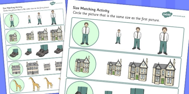Giant Themed Size Matching Worksheets - match, sheets, sizes