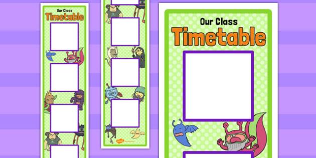 Monster Themed Vertical Visual Timetable Display - monster, visual, timetable