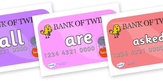 Tricky Words on Debit Cards - Tricky words, DfES Letters and Sounds, Letters and sounds, display, words