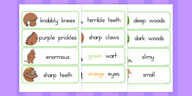 The Gruffalo Description Words Display - australia, gruffalo