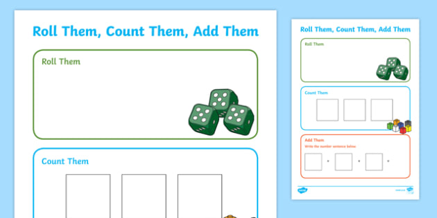 Roll them, Count them, Add them 3 Dice Activity Sheet