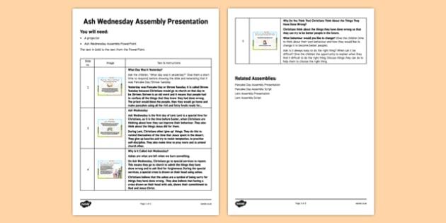 Ash Wednesday Assembly Script - Ash Wednesday, Assembly, Lent, script