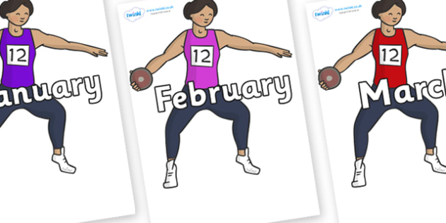 Months of the Year on Discus - Months of the Year, Months poster, Months display, display, poster, frieze, Months, month, January, February, March, April, May, June, July, August, September