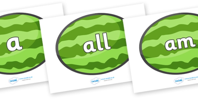 Foundation Stage 2 Keywords on Melons (Horizontal) - FS2, CLL, keywords, Communication language and literacy,  Display, Key words, high frequency words, foundation stage literacy, DfES Letters and Sounds, Letters and Sounds, spelling
