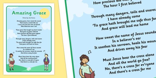 Amazing Grace Hymn Poster - amazing grace, hymn, poster, display, amazing, grace
