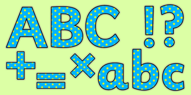 Display Lettering & Symbols (Blue And Yellow Stars) - Display lettering, display letters, alphabet display, letters to cut out, letters for displays, coloured letters, coloured display, coloured alphabet