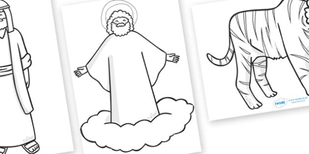 Noah's Ark Story Coloring Sheets - Noah's Ark, bible story, story, coloring, fine motor skills, poster, worksheet, vines, A4, display, noah, tools, ark, animals, rain, rainbow, flood, dove, land