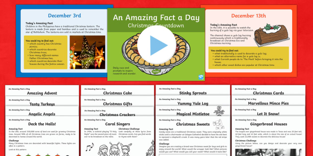 KS1 Countdown to Christmas Resource Pack - Amazing Fact Of The Day, activity sheets, powerpoint, starter, morning activity, December,Australia