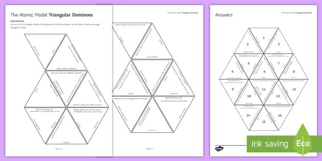 The Atomic Model Tarsia Triangular Dominoes - Tarsia, gcse, chemistry, physics, atom, atomic model, plum pudding model, rutherford, bohr, aplha pa