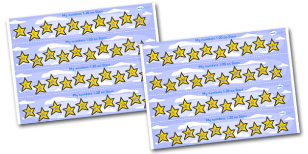 1-20 on Stars Number Strips - Maths, Math, number track, star, Numberline, Number line, Counting on, Counting back, counting, space