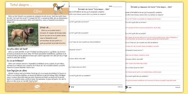 Totul despre câini, Text și fișă de comprehensiune a textului
