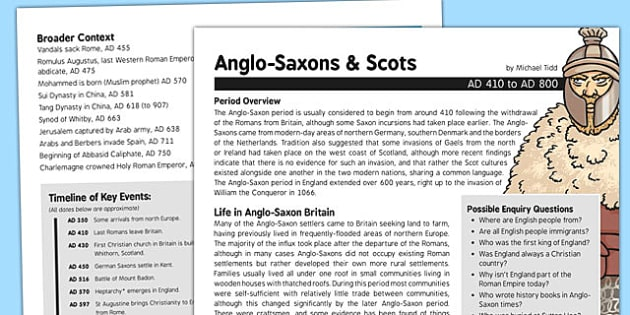 Anglo-Saxons and Scots History Fact Sheet for Adults - history, fact sheet, anglo-saxon, scots