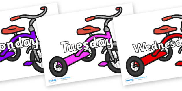 Days of the Week on Trikes - Days of the Week, Weeks poster, week, display, poster, frieze, Days, Day, Monday, Tuesday, Wednesday, Thursday, Friday, Saturday, Sunday