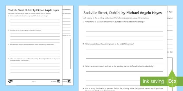 Sackville Street Dublin Art Appreciation Activity Sheet - Irish Art Resources, art strands, display resources, art appreciation, activity sheet, artist, perso