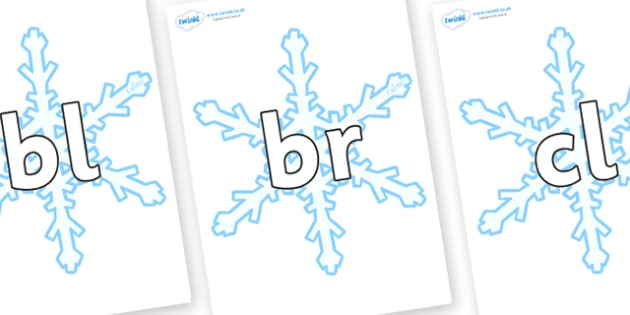 Initial Letter Blends on Snowflake - Initial Letters, initial letter, letter blend, letter blends, consonant, consonants, digraph, trigraph, literacy, alphabet, letters, foundation stage literacy