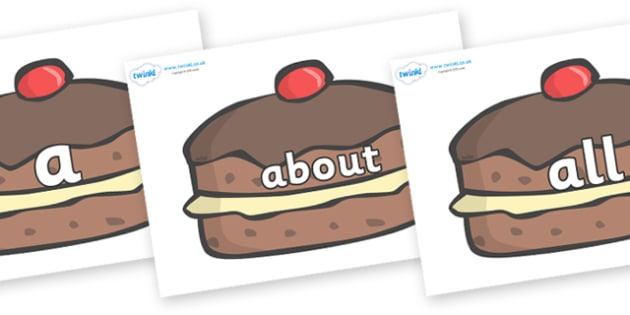 100 High Frequency Words on Chocolate Buns - High frequency words, hfw, DfES Letters and Sounds, Letters and Sounds, display words