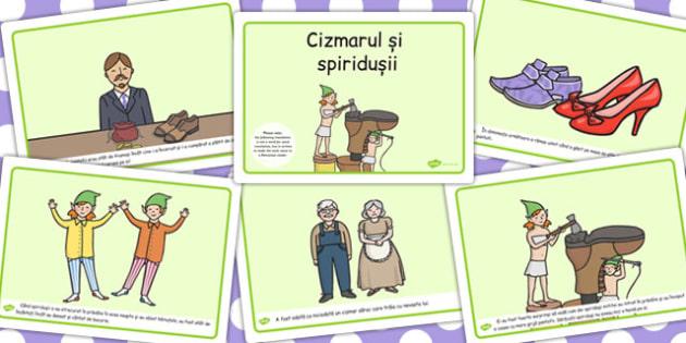Cizmarul si spiridusii, lectura, rezumat cu imagini, imprimabile, Romanian