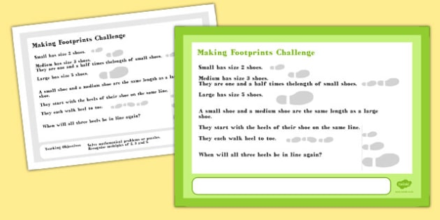 A4 Making Footprints Maths Challenge Poster - posters, display
