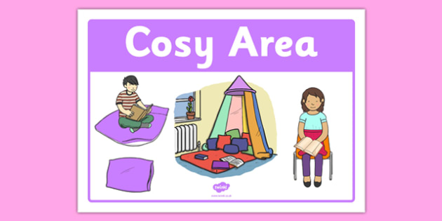 Cosy Area Sign - cosy area, sign, display sign, cosy, area, display, pillows, soft, blankets, snuggle