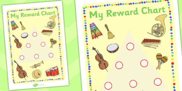 Music Themed Sticker Reward Chart 15mm - reward chart, sticker chart, sticker reward chart, music reward chart, music sticker chart, 15mm sticker chart