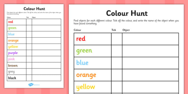 Colour Hunt Checklist - colour hunt checklist, colour, hunt, checklist