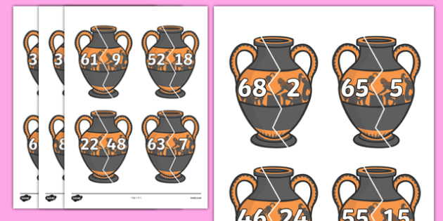 Number Bonds to 70 on Ancient Vases - number bonds, history number bonds, number bonds on greek vases, number bonds to 70, ks2 number bonds, ks2 history