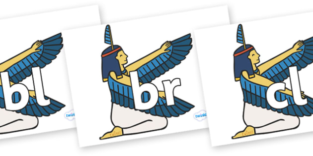 Initial Letter Blends on Egyptian - Initial Letters, initial letter, letter blend, letter blends, consonant, consonants, digraph, trigraph, literacy, alphabet, letters, foundation stage literacy
