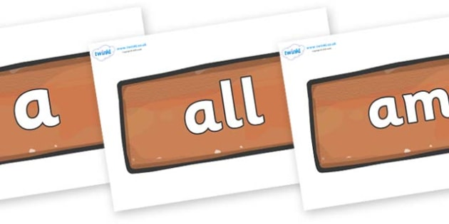 Foundation Stage 2 Keywords on Bricks - FS2, CLL, keywords, Communication language and literacy,  Display, Key words, high frequency words, foundation stage literacy, DfES Letters and Sounds, Letters and Sounds, spelling