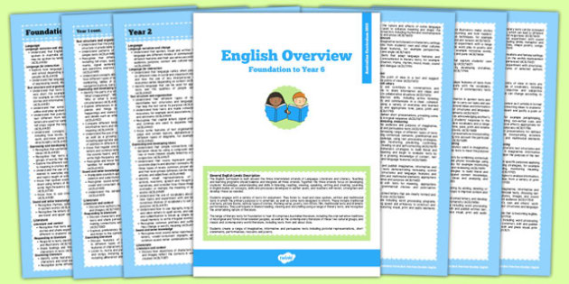 Australian Curriculum Foundation to Y6 Overview Booklet English