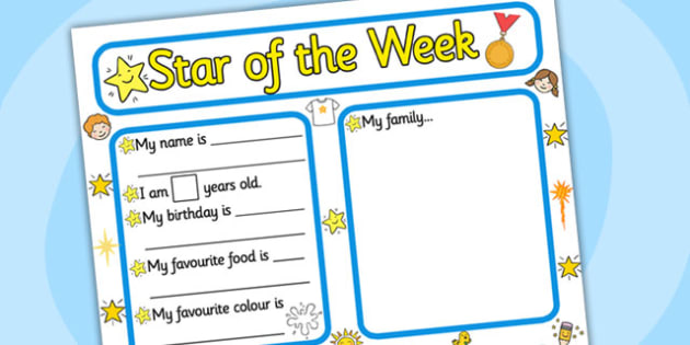 Star of the week writing frame writing frame star of the for Star of the week poster template