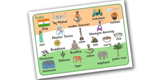 India Word Mat - India, bhangra, elephant, sari, peacock, cobra, curry, rickshaw, word mat, mat, writing aid, snake charmer, Taj Mahal, Mother Theresa, temple, Buddhism, Buddha, Hinduism, Sikhism, Ganseh, lotus flower, religion