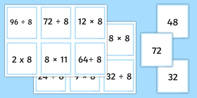 Multiplication and Division Facts For The 8 Times Table Matching Cards - multiplication, division, facts, times table, times tables, 8, matching, match