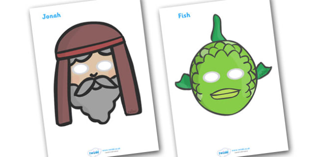 Jonah and the Big Fish Story Dramatic Play Masks - Jonah, bible, big fish, God, Ninevah, fish, help, dramatic play, play, masks, biblical story, biblical stories, eaten by a fish, listen to god