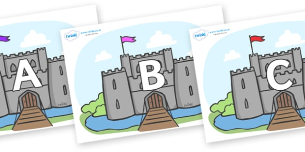 A-Z Alphabet on Castles - A-Z, A4, display, Alphabet frieze, Display letters, Letter posters, A-Z letters, Alphabet flashcards