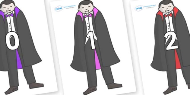 Numbers 0-50 on Vampires - 0-50, foundation stage numeracy, Number recognition, Number flashcards, counting, number frieze, Display numbers, number posters