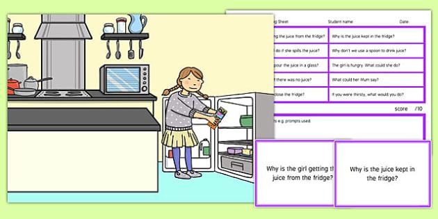 Kitchen Scene Blanks Level 4 Questions - receptive language, expressive language, verbal reasoning, language delay, language disorder, comprehension, autism