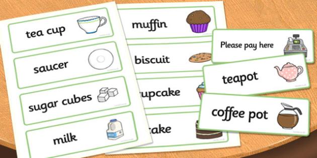 Tea Shop Role Play Word Cards - tea shop, role play, word cards, tea shop cards, tea shop role play, role play cards, cards for tea shop, food cards, drink