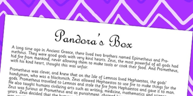 Pandoras Box Ancient Greek Myth Story Print Out - ancient greece
