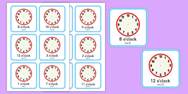 Write the Time O'Clock Cards Romanian Translation - romanian, write, time, o'clock, cards, clocks