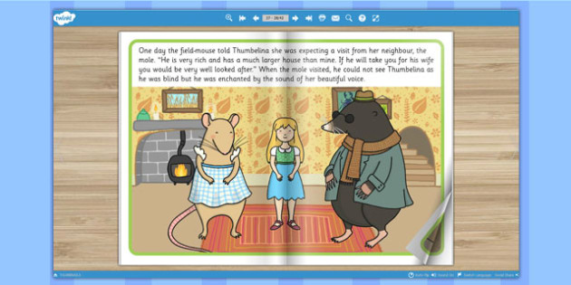 Thumbelina eBook - stories, story books, reading, visual aid