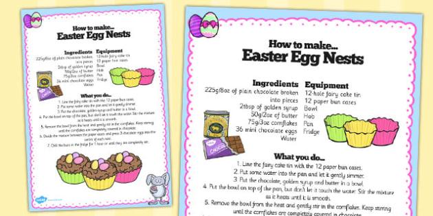 Chocolate Eggs in Nests Recipe Sheet - chocolate, eggs, recipe