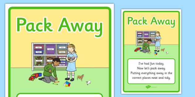 Pack Away Display Poster - pack away, display poster, display, poster, tidy time, tidy away, pack up, pack, away