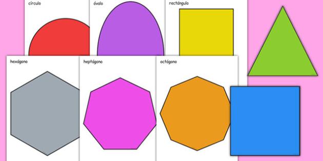 2D Shape A4 Cut Outs Spanish - spanish, 2d shape, a4, cut outs, 2d, shape, maths, numeracy